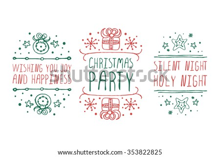Handdrawn christmas badges with text on white background.  Wishing you joy and happiness. Christmas party. Silent night holy night.  - stock vector