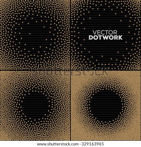 Handdrawn Dotwork Round Vintage Engraved Frames. Abstract Halftone Background. Vector illustration.  - stock vector
