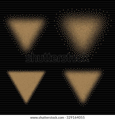 Handdrawn Dotwork Triangle Vintage Engraved Banner. Abstract Halftone Background. Vector illustration.  - stock vector