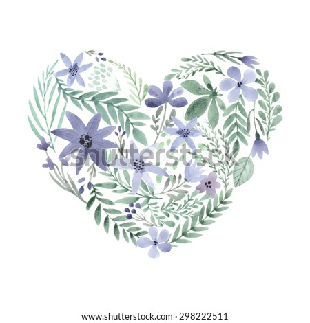 Handdrawn flower made of watercolor flowers. Vector watercolor floral concept for invitation card, save the date, valentines day greeting card. Summer design element. Heart icon. Organic flowers. - stock vector