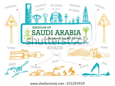 Handdrawn Line art Illustration of Saudi Arabia Landmarks and icons with country English and Arabic Title on a frame. Modern concept doodle sketch in vector and jpg versions - stock vector