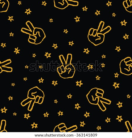 Handdrawn  seamless pattern withpeace gesture and stars on black background. Vector illustration. - stock vector