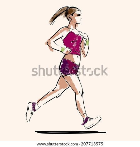 handdrawn sketch of running woman - stock vector