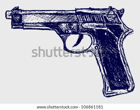 Handgun close-up - stock vector
