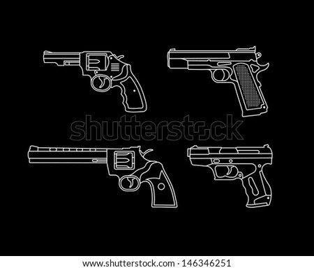 Handgun. Pistols and Revolvers - set of vector icons. Isolated on black background. - stock vector