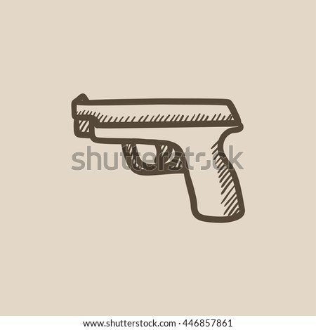 Handgun vector sketch icon isolated on background. Hand drawn Handgun icon. Handgun sketch icon for infographic, website or app. - stock vector