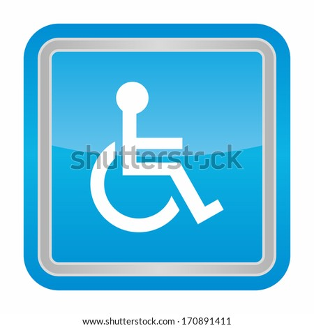 Handicap or wheelchair person (glossy rounded button with metallic frame, blue version) - stock vector