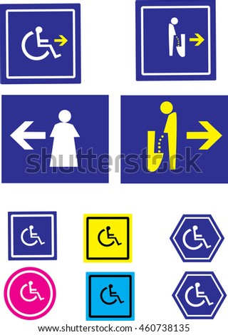 handicap parking or wheelchair parking space sign, toilet sign, toilet public for people and travelers