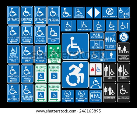 Handicap signs - stock vector