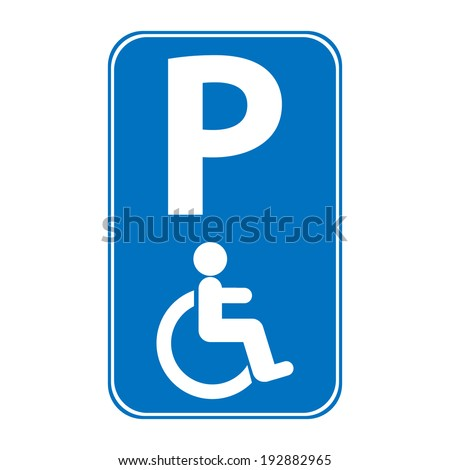 Handicapped parking sign on white background.
