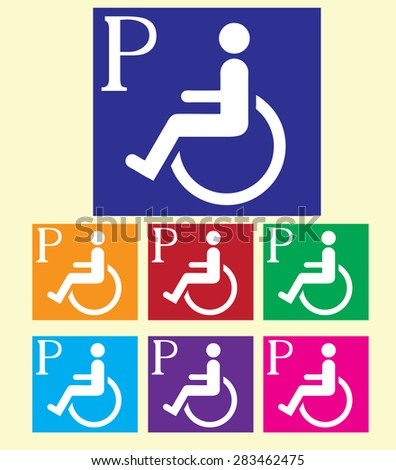 Handicapped parking signs colorful vector background. - stock vector