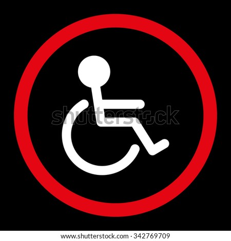 Handicapped vector icon. Style is bicolor flat rounded symbol, red and white colors, rounded angles, black background. - stock vector