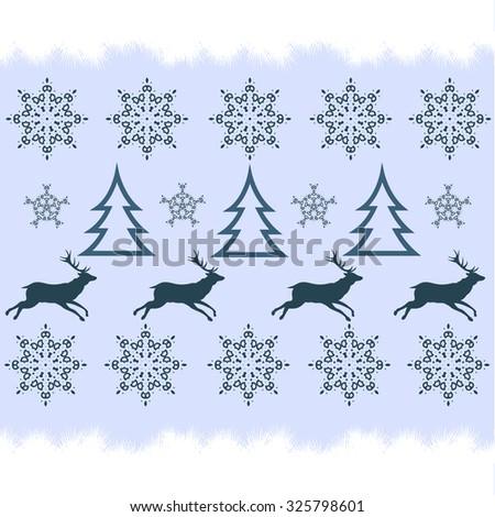 handicraft  winter sweater design - deer, snowflake and christmas tree - stock vector