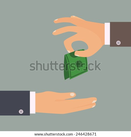 Handing money vector illustration. Giving tips concept. - stock vector
