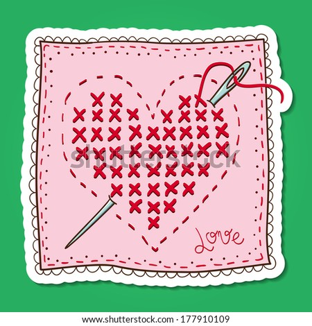 Handkerchief with heart embroidery. Vector card concept. Romantic tender design