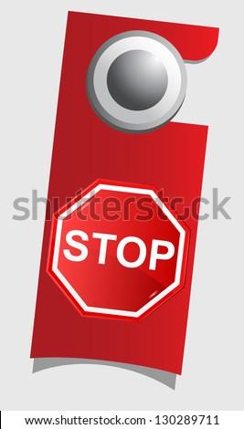 Handle door with stop sign , vector - stock vector