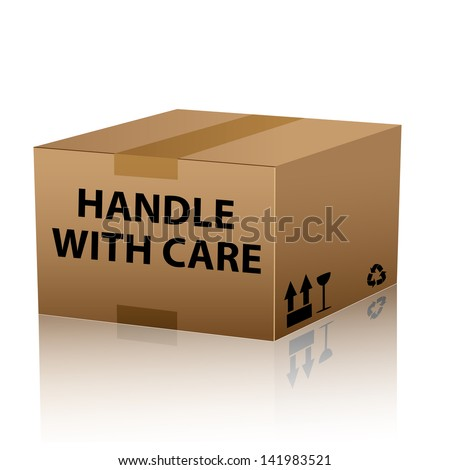 handle with care on cardboard box - stock vector