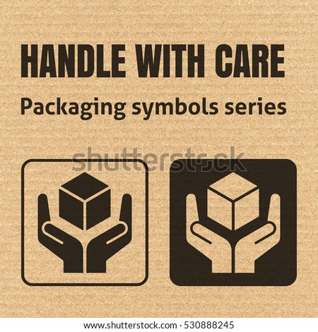 HANDLE WITH CARE packaging symbol on a corrugated cardboard background. For use on cardboard boxes, packages and parcels. EPS10 vector illustration