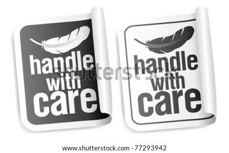 Handle with care packing stickers set - stock vector