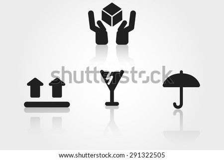 handle with care vector icons - stock vector
