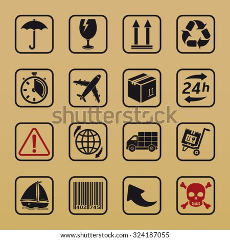 Handling and packing icons - stock vector