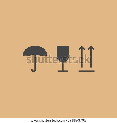 Handling and packing icons for carton box vector set isolated on cardboard brown background, icons, upward direction arrows - stock vector