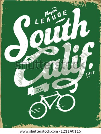handmade bicycle sketch with wording for apparel. - stock vector