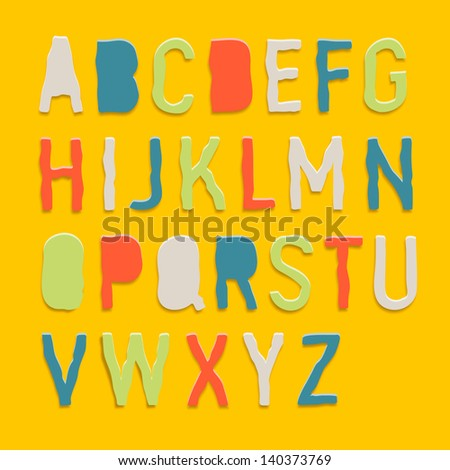 Handmade color paper crafting alphabets, vector illustration. - stock vector