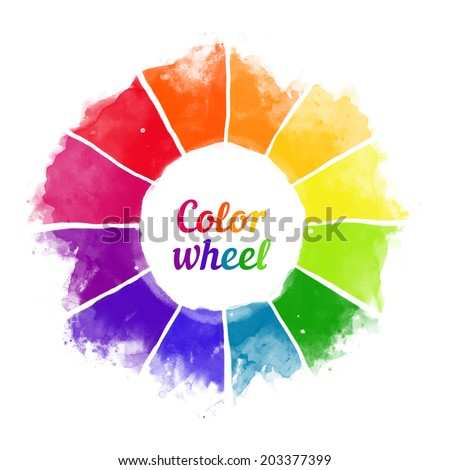 Handmade color wheel. Isolated watercolor spectrum. Raster illustration.  - stock vector
