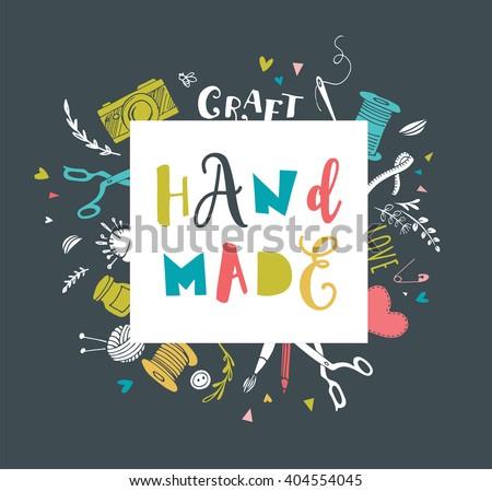 Handmade, crafts workshop, art fair and festival poster - stock vector