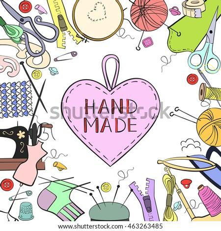 Handmade Crafts Workshop Art Fair And Festival Poster Knitting Yarn Hand