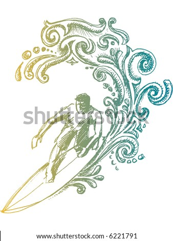handmade drawing emblem - stock vector
