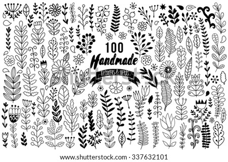 Handmade flowers and leaf elements set. Vector herbs set. Collection with leaf and flowers, hand drawn elements. Design elements for templates, wedding invitation or greeting cards. Set of flowers. - stock vector