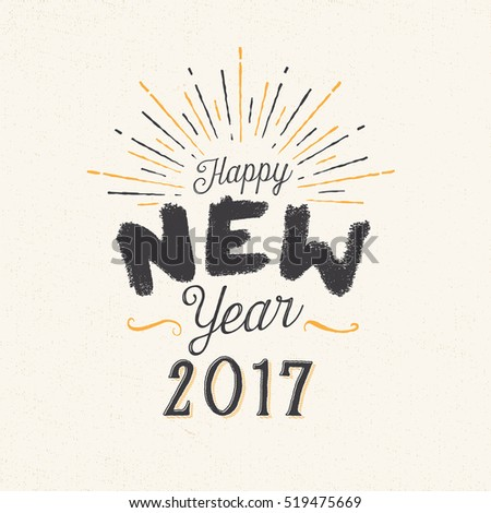 Handmade greeting card - Happy New Year 2017 - Vector EPS10.