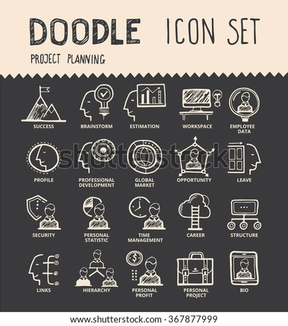 Handmade ink pen line icons set of modern employee organisation, solution for hire process. Creative outline symbol collection. Simple doodle linear pictogram collection. Vector logo illustrations. - stock vector