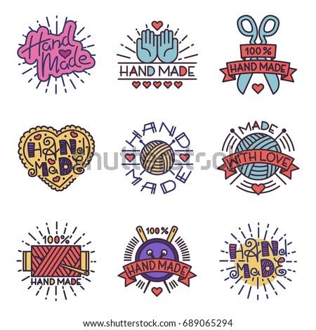Handmade Needlework Craft Badges Sewing Fashion Stock Vector