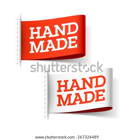 Handmade red and white labels. Vector. - stock vector