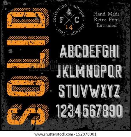 Handmade retro font. 3d extruded type. Grunge textures placed in separate layers. Vector illustration. - stock vector