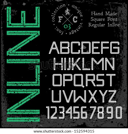 Handmade retro font. Inline type. Grunge textures placed in separate layers. Vector illustration. - stock vector