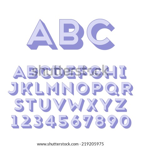 Handmade sans-serif font. Bold 3d-extruded type. Main glyph and 3d extruded part placed in separate layers of vector file. - stock vector