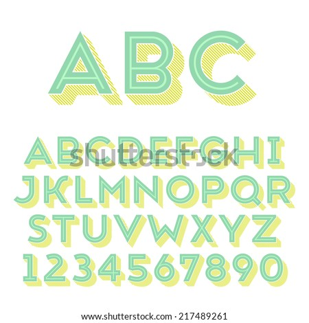 Handmade sans-serif font. Bold 3d-extruded type. Main glyph, inline shape and 3d extruded part placed in separate layers of vector file. - stock vector