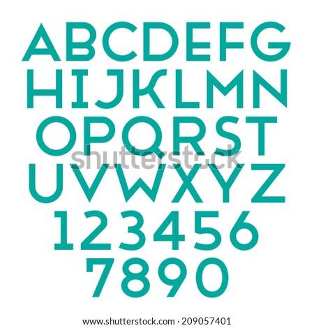 Handmade sans-serif font. Bold type. Vector illustration. - stock vector