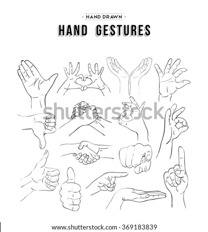 Handmade sketches set of hand gesture signs. Universal social communication icons. EPS10 vector. - stock vector