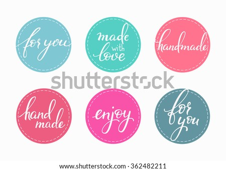 Handmade sticker lettering set. Calligraphy label graphic design lettering element. Hand written calligraphy style signs. Hand craft decoration element. Handmade. For you. Made with love. Enjoy. - stock vector