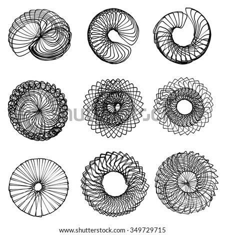Handmade vector and illustration of nine spirographs (or guilloche) with with a tablet, its pen and a real spirograph. - stock vector