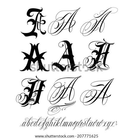 Handmade vector calligraphy tattoo alphabet - stock vector