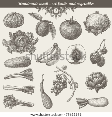 handmade work - set fruits and vegetables - stock vector