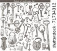 handmade work - vintage key - stock vector