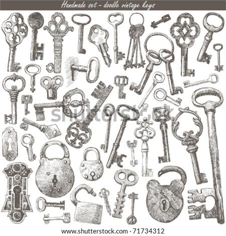 handmade work - vintage key - stock vector