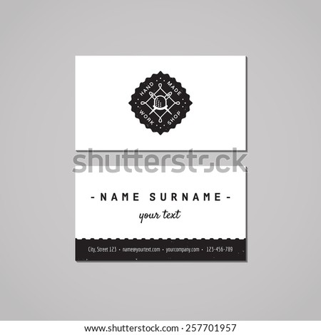 Handmade workshop business card design concept stock vector handmade workshop business card design concept logo with thimble with needles and thread badge reheart Gallery